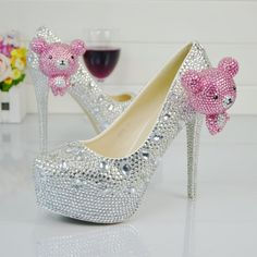 Nightclub Party Wedding Shoes Rhinestone Platform High Heels Crystal Diamond Bridal Pumps 2    https://www.lacekingdom.com/   Lace Kingdom: Everything You Need for #Weddings & Events