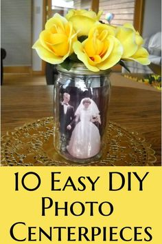 DIY Photo Centerpieces - Looking for awesome but easy photo centerpieces? Check out these great table centerpiece ideas.perfect for a wedding, shower, milestone birthday or anniversary party! 80th Birthday Party Decorations, 50th Wedding Anniversary Decorations, 60th Anniversary Parties, Anniversary Surprise, 90 Birthday Party Ideas, Anniversary Crafts, Anniversary Scrapbook, 90th Birthday Parties, 65th Birthday