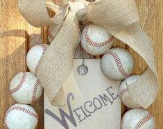 Baseball Wreath, Burlap With Initial Made Using Real Leather Baseballs Wreath Burlap, Monogram Wreath, Burlap Bows, Softball Wreath, Baseball Wreaths, Coach Gifts, Team Gifts, Baseball Party Supplies, Baseball Nursery