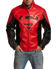 """This superman costume jacket is made up of extremely high quality genuine leather which makes it a durable costume jacket to wear. The jacket is made using red and black color combination. The jacket has a superman """"S"""" logo on middle of the chest. Biker Leather, Leather Men, Leather Jackets, Custom Leather, Cowhide Leather, Real Leather, Smallville, Red And Black Jacket, Red Black"""