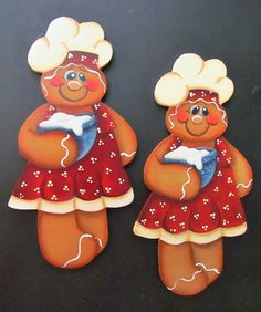 Gingerbread Girl Chef Red Hand Painted Wood by PaintingByEileen, $8.50