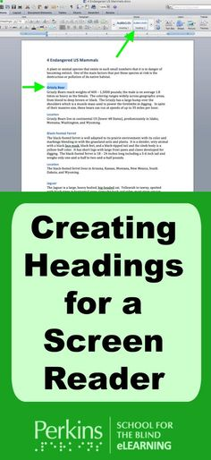 Learn to create accessible headings for a screen reader.  Great information about heading navigation for students and teachers!