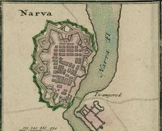 Map of the city of Narva (Estonia) in 1750.