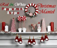 Lots of cute red & white Christmas decorating ideas on Crafts 'n Coffee.