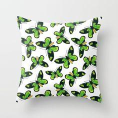 Queen Victoria' s birdwing butterfly pattern Throw Pillow #society6 #butterfly #Pillow #print #katerinakart