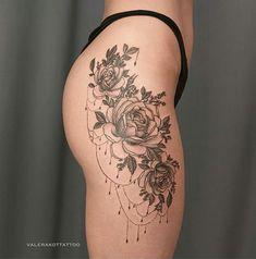 Tattoo Valera Kot - tattoo's photo In the style Graphics, Female, Flowe Side Hip Tattoos, Hip Tattoos Women, Trendy Tattoos, Unique Tattoos, Leg Tattoos, Beautiful Tattoos, Body Art Tattoos, Sleeve Tattoos, Small Tattoos
