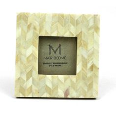 Square Chevron Pearl Bone Wood Frame 3x3 - Matr Boomie (P)