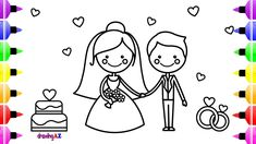Wedding Bride And Groom Coloring Book