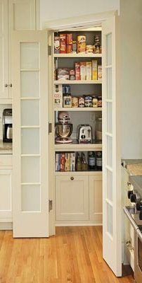 Kitchen pantry design ideas Corner Pantry Split-door corner pantries are perfect for small kitchens with unused corner space. Here, the corner pantry helps keep walkways clear. Inside the pantry, custom shelving offers ample storage for food, supplies, an Kitchen Pantry Design, Kitchen Corner, Kitchen Redo, New Kitchen, Kitchen Storage, Kitchen Remodel, Kitchen Cabinets, Pantry Storage, Corner Pantry Cabinet