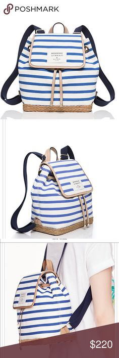 NEW! Kate Spade Canvas Molly Backpack This is a darling canvas backpack in sailor stripes with smooth cowhide trim. It has 14K gold plated hardware, a drawstring closure with a top flap. The interior has a zipper pocket. kate spade Bags Backpacks