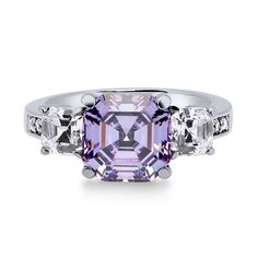 Sterling Silver Asscher Purple CZ 3-Stone Ring 5.6 CTW
