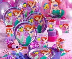 Child birthday party supplies set birthday party set the little mermaid ariel bundle $15.89