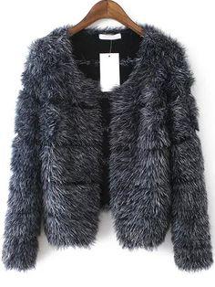Cappotto a righe con eco-pelliccia grigio 33.32