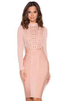 Clothing : Bandage Dresses : 'Lenova' Blush Studded Bandage and Mesh Dress