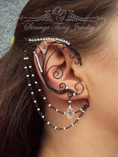 Pair of elf ear cuffs Dark elf by StrangeThingJewelry on Etsy