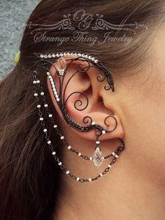 Pair of elf ear cuffs Dark elf by StrangeThingJewelry on Etsy