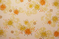 vintage wallpaper - what year do we think? It's sort of mod, so maybe some late fifties, yet bringing in the harvest colors, moving to early sixties....63-64 maybe?