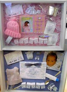 Baby Shadowboxes I made one for my daughter with a lock of her hair, her first tooth, minitures of her favorite things as a baby.