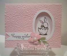 handmade Easter card ...  oval die cut window on front reaveals sweet bunny in broken egg inside ... beautiful texture from embossing folder ... Stampin' Up!