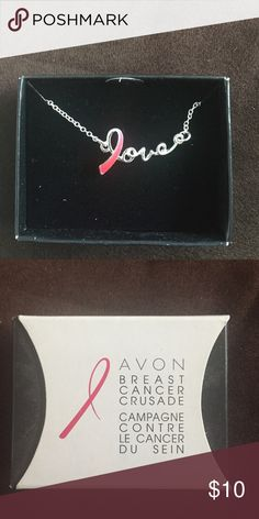 Free With Clothing Purchase Breast Cancer Necklace Brand New Avon Breast Cancer Necklace. In the comments of the clothing item you purchase, let me know you want this necklace! Avon Jewelry Necklaces