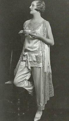 maudelynn:    Good Morning, everyone!!  Morning Tea, Late 1920s Vintage Pajamas Photo Shoot by James Abbe