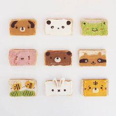Animal toast by Anna Chan ( Food Art For Kids, Cooking With Kids, Tostadas, Anna Chan, Kawaii Bento, Dessert Drinks, Desserts, Cute Cookies, Bento Box