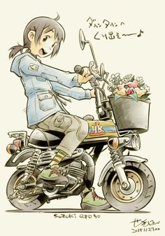 Anime Motorcycle, Scooter Moto, Character Art, Character Design, Bike Illustration, Anime Art, Manga Anime, Car Drawings, Illustrations And Posters