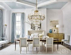 Looking for Living Space and Dining Room ideas? Browse Living Space and Dining Room images for decor, layout, furniture, and storage inspiration from HGTV. Dining Room Blue, Dining Room Design, Dining Table, Dining Rooms, Dining Chairs, Atlanta Homes, Interior Exterior, Interiores Design, White Walls