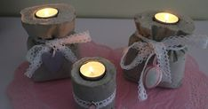 DIY: Betonituikkulyhtyjä kahvipussiin valettuna. Concrete Crafts, Tea Lights, Candles, Savi, Diy, Bricolage, Tea Light Candles, Candle Sticks