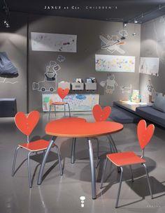 Heart Table and Chairs by Agatha Ruiz de la Prada for Janus et Cie