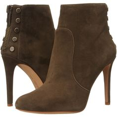 Vince Camuto Bustell Women's Boots, Brown (130 CAD) ❤ liked on Polyvore featuring shoes, boots, ankle boots, brown, bootie boots, brown high heel boots, high heel ankle boots, zip boots and faux boots