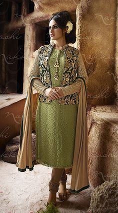 Stylish Embroidered Short Jacket Style Pastel Green Raschel Net Kameez