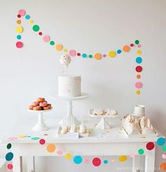 A Sprinkle & Confetti Birthday Party from Sweet Style - A Sprinkle & Confetti B. - A Sprinkle & Confetti Birthday Party from Sweet Style – A Sprinkle & Confetti Birthday Party fro - Simple Birthday Decorations, Birthday Party Decorations, Birthday Parties, White Dessert Tables, White Desserts, Sprinkle Party, Baby Sprinkle, First Birthdays, Creations
