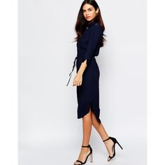 Warehouse Midi Shirt Dress (745 NOK) ❤ liked on Polyvore featuring dresses, navy, navy blue shirt dress, midi shirt dress, navy blue midi dress, drawstring waist dress and tall dresses