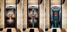 Superman pubblicità virale per ascensori per grandi uomini