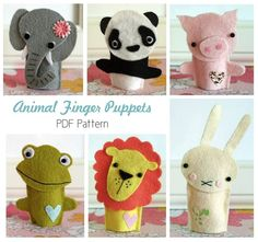 On't know why I love puppets so much < Animal Finger Puppet Patterns PDF by HelloClementine on Etsy--inspiration! Felt Puppets, Felt Finger Puppets, Hand Puppets, Diy For Kids, Crafts For Kids, Finger Puppet Patterns, Felt Animals, Felt Crafts, Kids Christmas