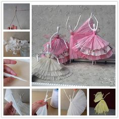 For all the we bring a stunning new project for you - Use Tissue to Make Dancing Figures, just by using some wire and tissue paper. You can create these beautiful dancing figures and will be great to use as table features. Tissue Paper Crafts, Diy Paper, Diy For Kids, Crafts For Kids, Arts And Crafts, Easy Diy Crafts, Cute Crafts, Felt Crafts, Dance Crafts