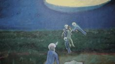 """I do know for sure that I lost my virginity to an extraterrestrial woman,"""" says David Huggins. Huggins paints impressionistic, surreal scenes of beings with glowing eyes, spaceship beams, and interterrestrial babies — spindly, translucent, clutching – babies that he fathered, all across the galaxy."""