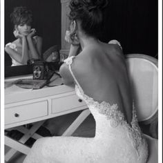 Stunning backless lace wedding dress!