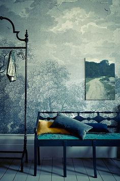 "Landscape on a landscape. ""Etched Arcadia"" wallpaper from Anthropologie."