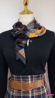 Ways To Tie Scarves, Ways To Wear A Scarf, How To Wear Scarves, Scarf Wearing Styles, Scarf Styles, Scarf Knots, Diy Scarf, Diy Fashion, Fashion Outfits