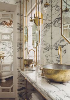 Lovely: Brass is the new black. This bathroom designed by Maddox Creative is also clad completely in marble. Perhaps brass and marble is the look we'll be seeing more of going forward. Bathroom Inspiration, Interior Inspiration, Arabescato Marble, Bathroom Interior, Gold Bathroom, Eclectic Bathroom, Marbel Bathroom, Black Marble Bathroom, Bathroom Taps