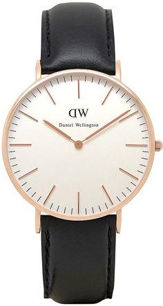 Womens black daniel wellington classic sheffield watch from Topshop - £159 at ClothingByColour.com