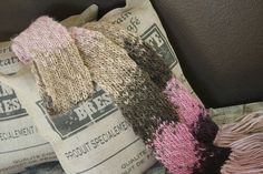 Pink and tan ombre scarf with fringe, wool acrylic blend