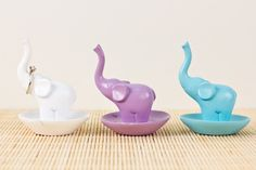 Resin Elephant Ring Holders from Earthbound! Super cute. In white.