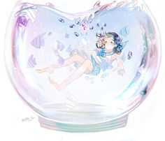 drowning desires by mano-k on DeviantArt Anime Art Girl, Manga Girl, Kawaii Anime, Manga Anime, Girl In Water, Chibi Girl, Anime People, Anime Artwork, I Love Anime