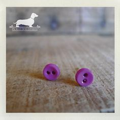 Mini Magenta Itty Bitty Button Post Earrings by PickleDogDesign, $5.50