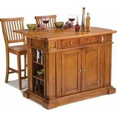Home Styles Traditions Kitchen Island and Stools, Distressed Oak, Brown