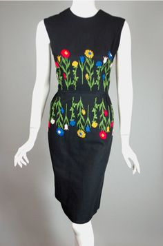 Black cotton pique & floral embroidery early 1960s dress $95