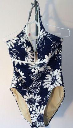 32d82a4fd4 Izod Womens 1 Pc. Swimsuit Size 14 Blue White Floral Nylon  IZOD  OnePiece